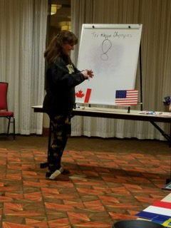 Kim Hensley plays our version of Pictionary - Tri Kappa Olympics - State Meeting Feb 2018